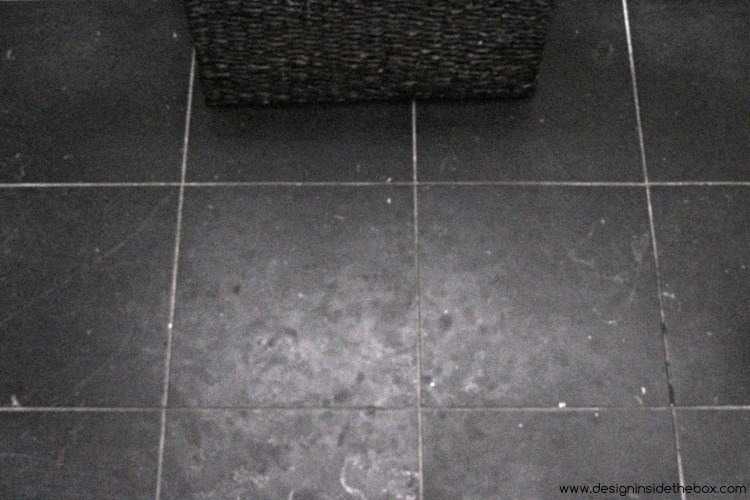 Black shiny floor tiles