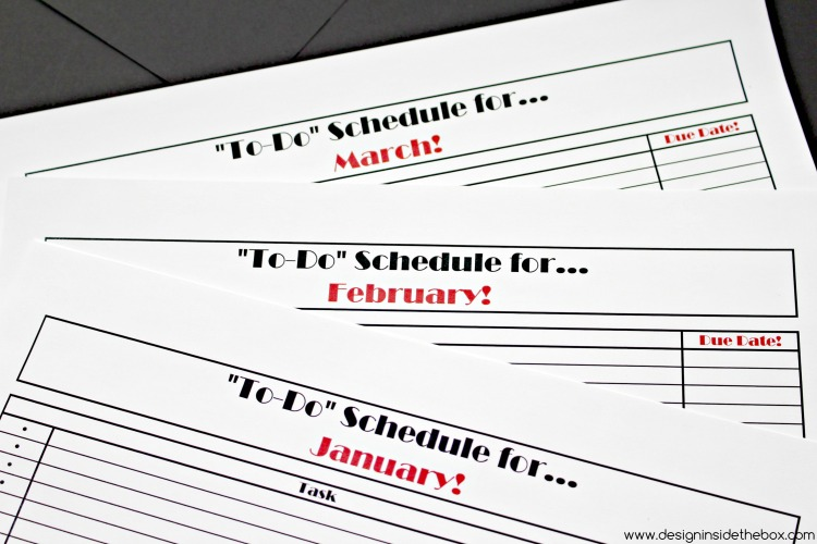 To-Do Monthly Schedule - Free Printable! www.designinsidethebox.com